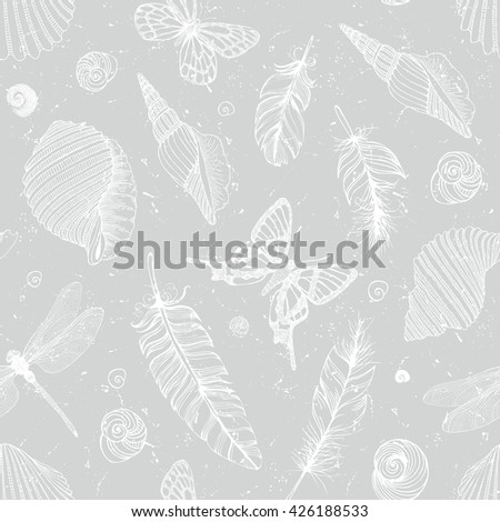 Hand drawn pattern in boho style - stock vector