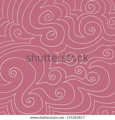 Hand drawn pattern of cream swirls and curves on a dusty rose pink background. - stock vector