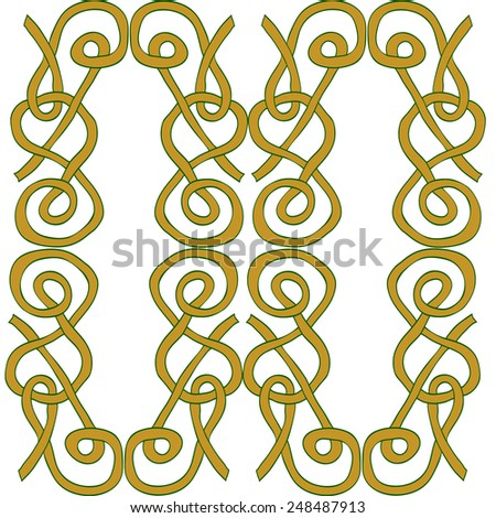 Hand drawn pattern tile on white background with ornamental motives in Celtic style. Vector illustration. - stock vector