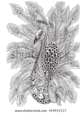 Hand-drawn Peacock with ethnic floral doodle pattern. Coloring page - zendala, design for meditation for adults, vector illustration, isolated on a white background. Zen doodles. - stock vector