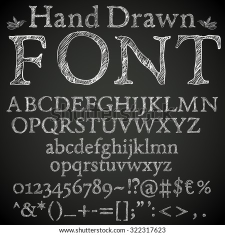 Hand drawn pencil or chalk sketched font: letters, numbers and symbls, vector - stock vector