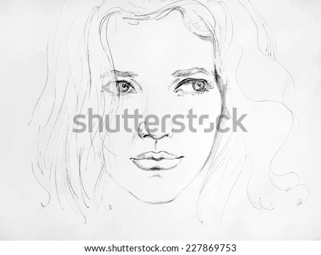 Hand drawn pencil sketch with face of a girl. Female portrait. - stock vector