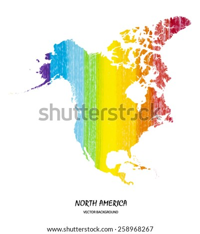 hand drawn pencil stroke map of North America isolated on white. Vector version - stock vector