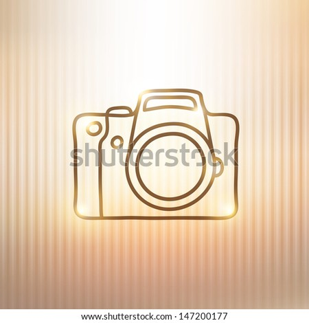 hand drawn photo camera on gold background - stock vector