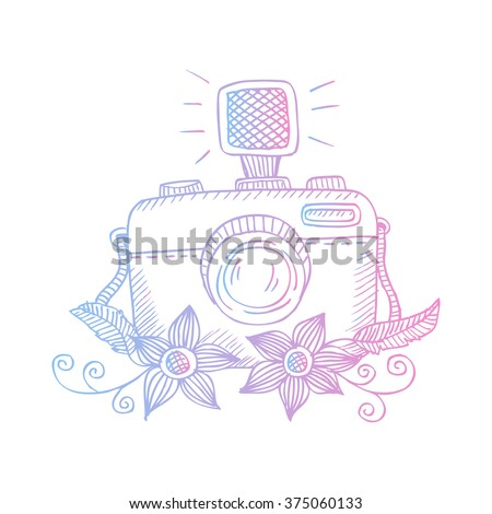 Hand drawn photo camera with flowers - stock vector