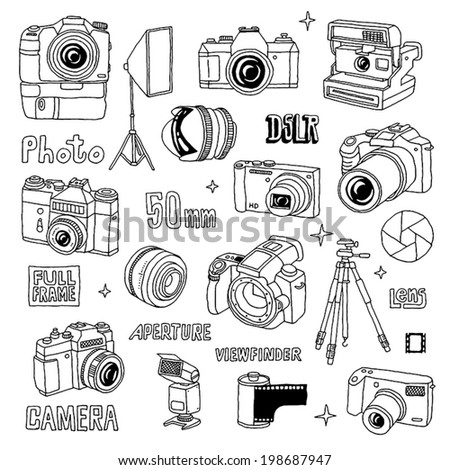 Hand drawn photo cameras set 1. Vector illustration. - stock vector