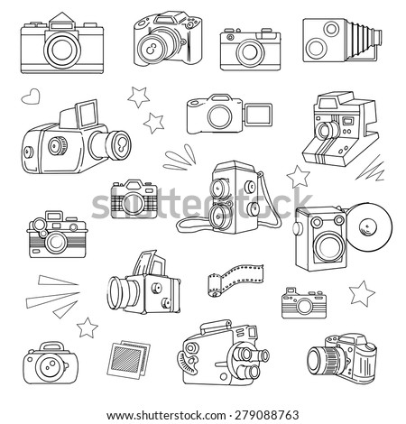 Hand drawn photo cameras set, vector illustration - stock vector