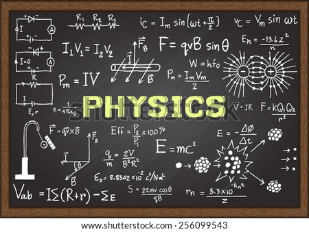 Hand drawn physics on chalkboard. - stock vector
