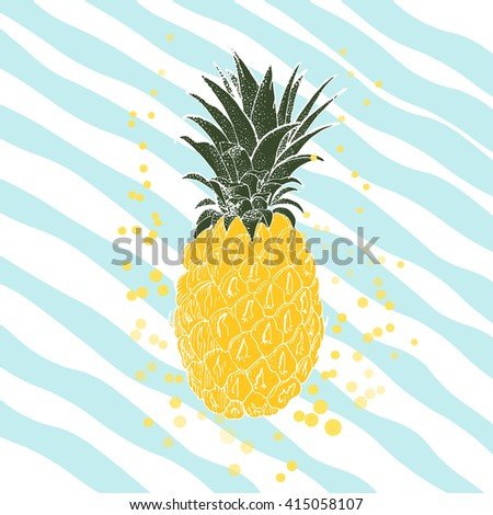 Hand drawn pineapple. Vector background - stock vector