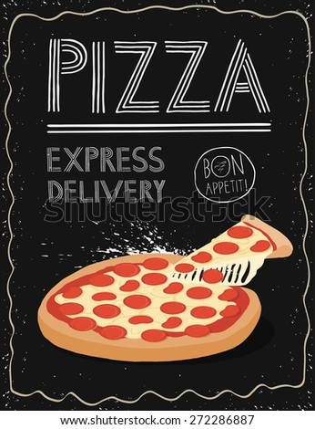 Hand drawn pizza poster. - stock vector