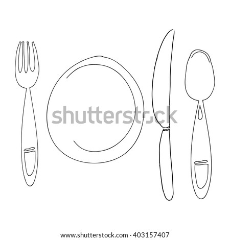 Hand drawn plate, fork, knife, spoon. Cartoon dish isolated on white. Empty plate.  For menu illustration. Cartoon plate. Empty plate isolated - stock vector