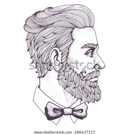 Hand drawn portrait of bearded man side-view. Vector illustration.  - stock vector