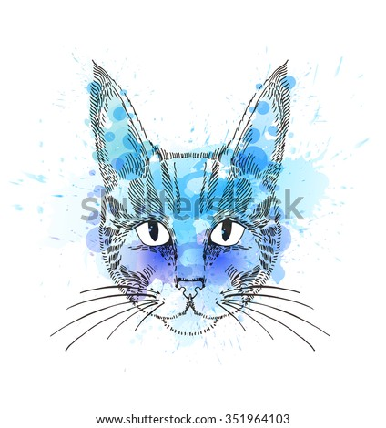 Hand Drawn portrait of cat with watercolor blots.  - stock vector