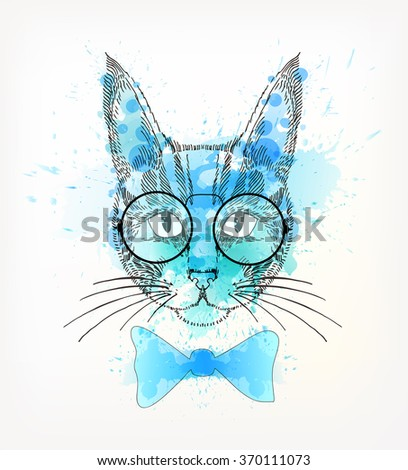 Hand Drawn portrait of hipster cat with watercolor blots. - stock vector