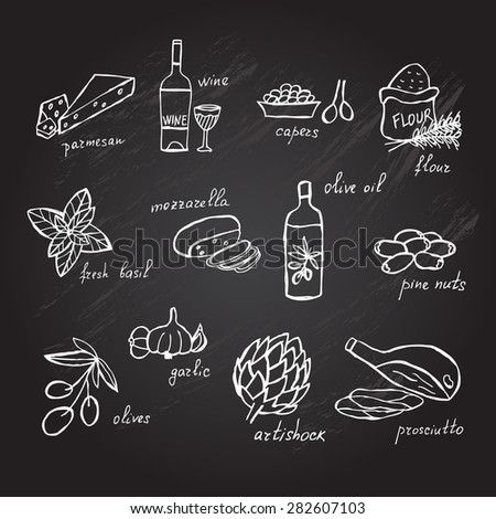 Hand drawn principal italian food ingredients, design elements. Can be used for cards, invitations, gift wrap, print, scrapbooking. Kitchen theme. Chalkboard background - stock vector