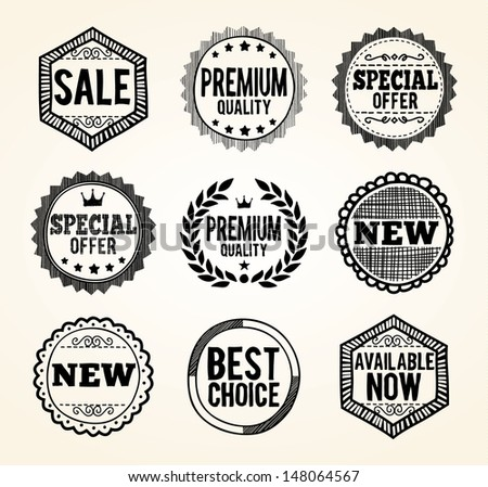 Hand drawn product promotion badges. EPS8. - stock vector