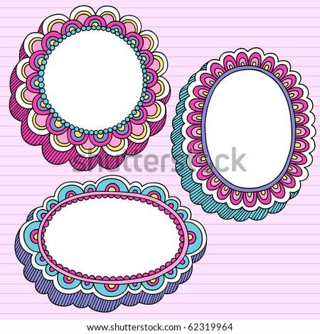 Hand-Drawn Psychedelic Groovy Notebook Doodle Set of 3D Flower Frames- Design Elements on Pink Lined Sketchbook Paper Background- Vector Illustration - stock vector