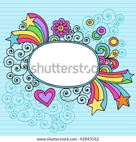 Hand-Drawn Psychedelic Notebook Doodles Oval Frame on Lined Paper Background- Vector Illustration - stock vector