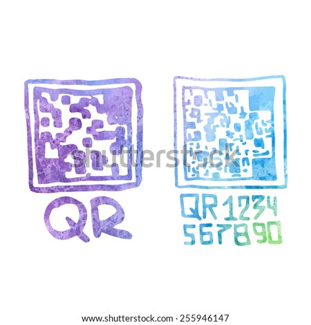 Hand drawn qr code with watercolour background. - stock vector