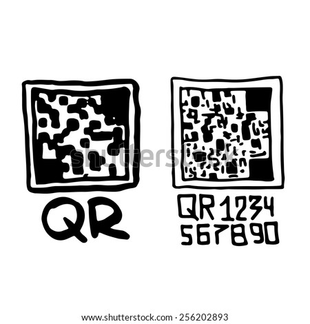 Hand drawn qr codes. - stock vector