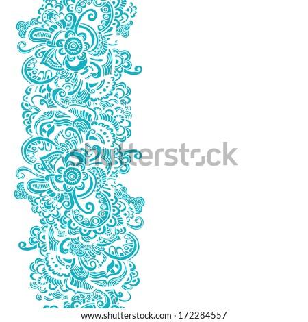 Hand drawn quaint floral border - stock vector