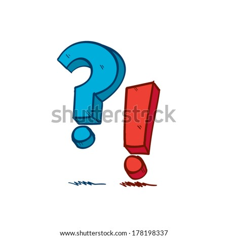 Hand drawn Question and Exclamation Marks - stock vector