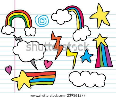 Hand Drawn Rainbow Doodles - stock vector