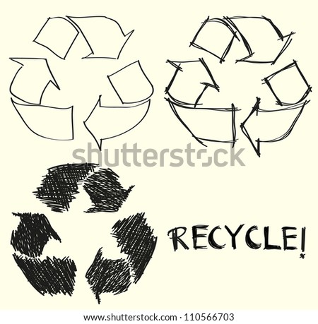 Hand drawn recycle arrow sign - stock vector