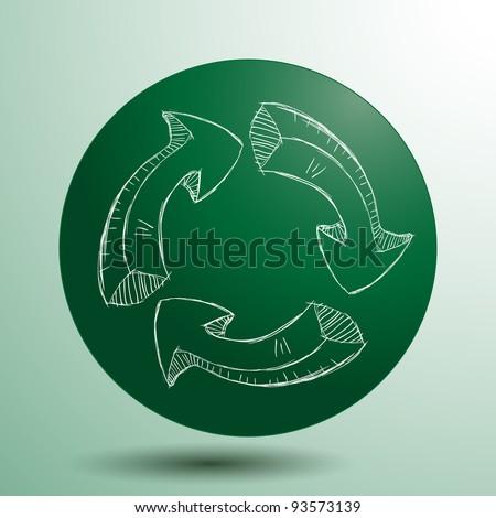 Hand drawn recycle logo, vector - stock vector