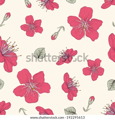 hand drawn red blossoms buds and leaves detailed seamless pattern - stock vector