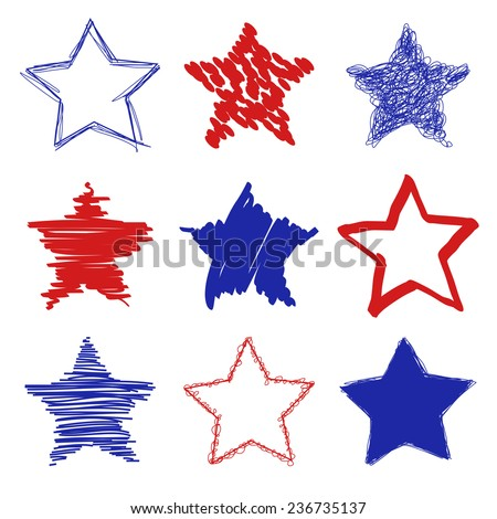 Hand drawn red blue stars shapes - stock vector