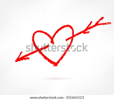 Hand drawn red love heart icon, brush drawing loving heart sign with  - stock vector