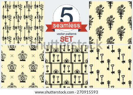Hand drawn retro and vintage forged arrow, flower, lantern, key, frame decoration item. Set of 5 vector seamless pattern. Chess grid order pattern. - stock vector