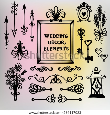 Hand drawn retro and vintage forged frame, floral, border, lantern, arrow, spike, flower, key, lily decoration items. Set of isolated rustic wedding decorative elements. Black outline sketch. - stock vector