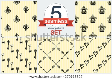 Hand drawn retro and vintage forged lily, lantern, key, frame, border, arrow decoration item. Set of 5 vector seamless pattern. Chess grid order pattern. - stock vector