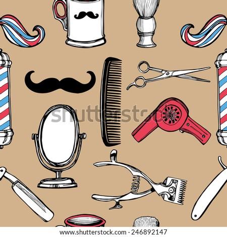 Hand drawn retro barbershop seamless pattern. Scissors, razor, shaving brush, barber pole, shaving mirror, mustache, comp. - stock vector