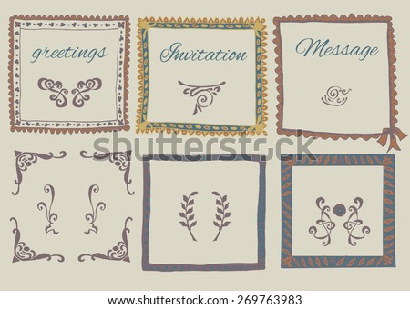 Hand drawn retro design for greeting cards and invitations. Graphyc elements for text decoration. - stock vector