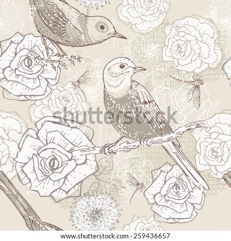 Hand drawn retro floral seamless pattern with birds in craft paper tones. All objects are conveniently grouped and are easily editable. - stock vector