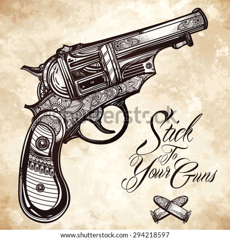 Hand drawn Retro Gun Revolvers Pistol, bullets in vintage style. Ornate beautifully detailed tattoo design element. Vector illustration isolated. Cards, t-shirts, scrap-booking, print concept art.  - stock vector