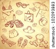 Hand drawn retro icons summer beach set on a grunge paper background - stock vector