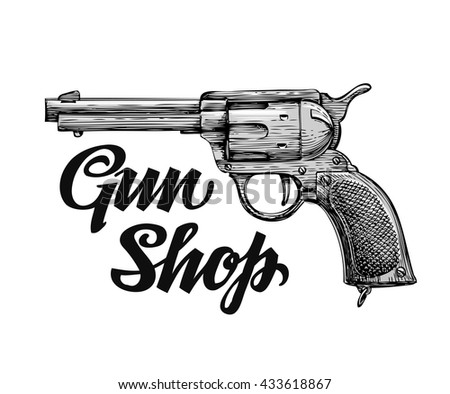 Hand drawn retro sketch Firearm. Antique arms. Gun shop. Vector illustration isolated on white background - stock vector