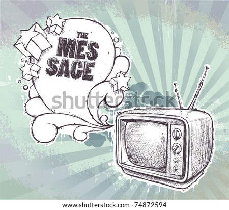 Hand-drawn retro TV set on dirty background. Layered. Vector EPS 10 illustration. - stock vector