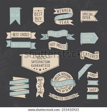 Hand drawn ribbons / banners set with handwritten messages on grunge background. Vector illustration. - stock vector