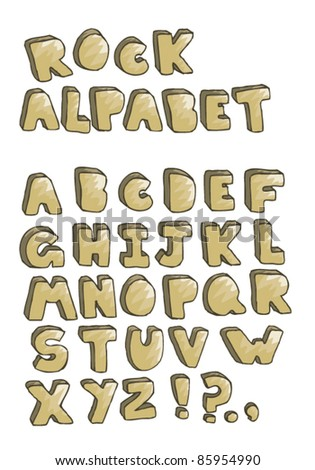 Hand drawn rock alphabet isolated on white - stock vector