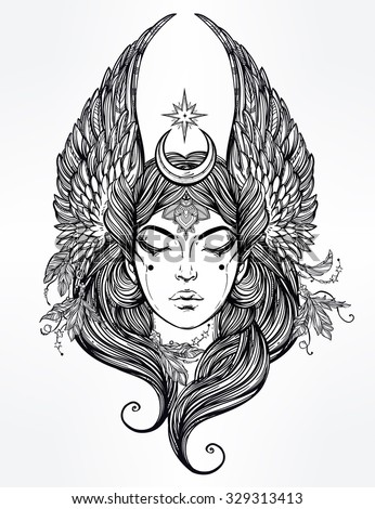 Hand drawn romantic beautiful artwork of Female diety with stars wings and moon. Alchemy, religion, spirituality, occultism, tattoo art.  Isolated vector illustration. - stock vector
