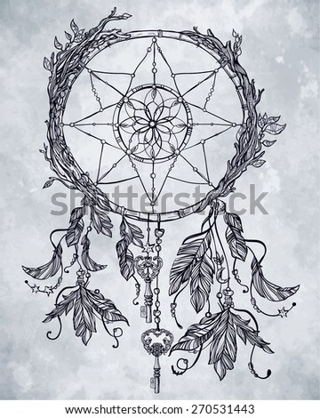 Hand drawn romantic beautiful drawing of a dream catcher, feathers and leaves.Vector illustration isolated on grunge aged paper . Ethnic tattoo design with American Indians elements, tribal symbol.  - stock vector