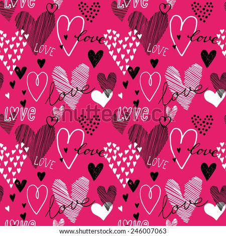 Hand-drawn romantic doodle hearts seamless pattern. Can be used for wedding invitation, card for Valentine's Day or card about love. - stock vector