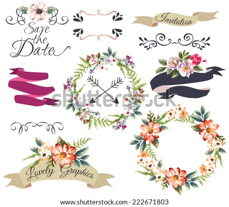 hand drawn romantic flower collection-wreath,curl,arrow,frame,save the date - stock vector