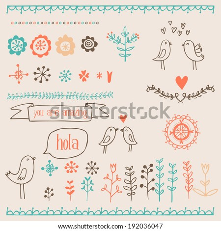 hand drawn romantic set with birds, hearts and floral elements - stock vector