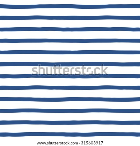 Hand drawn sailor stripes seamless vector pattern. Navy blue and white striped background. Sailor vest ornament. - stock vector
